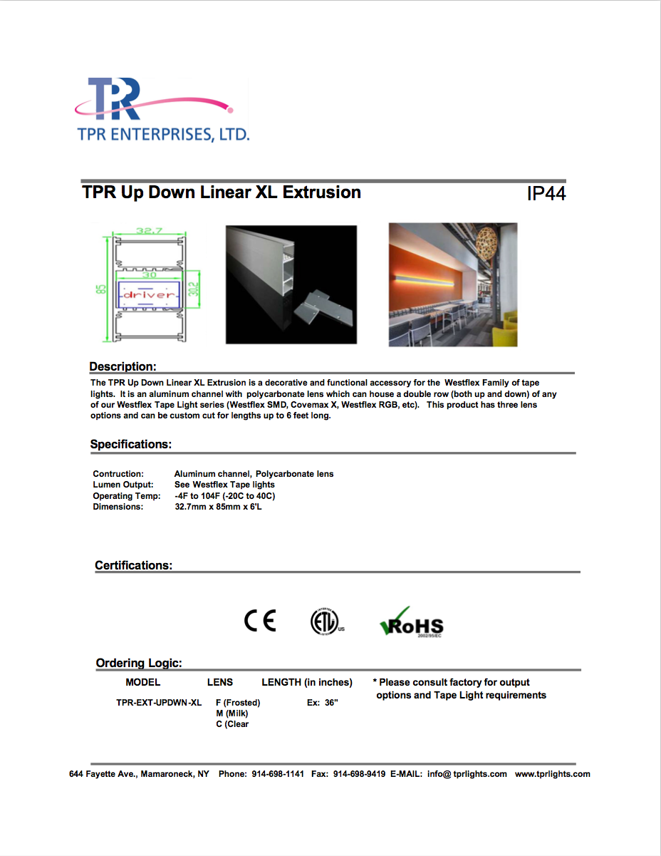Up:Down Linear XL Extrusion (cover photo)