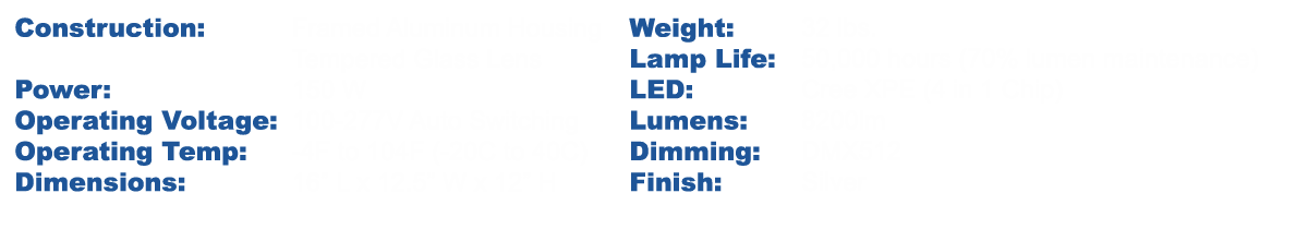 Specifications Chart 150W Spec