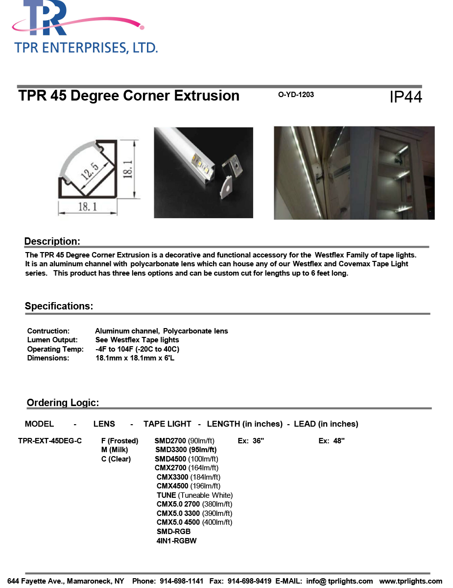 TPR 45 Deg Corner Extrusion