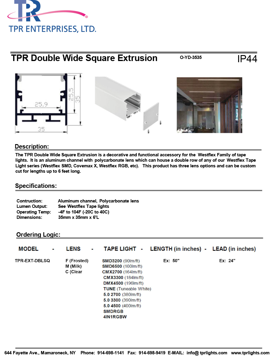 TPR Double Wide Square Extrusion