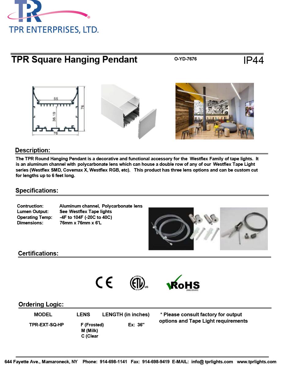 TPR Square Hanging Pendant