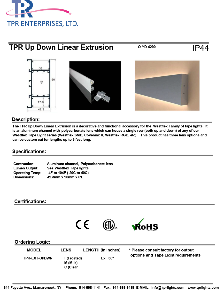TPR Up Down Linear Extrusion